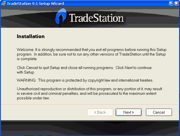 Installing TradeStation 9 1 Update 29 (build 12880)